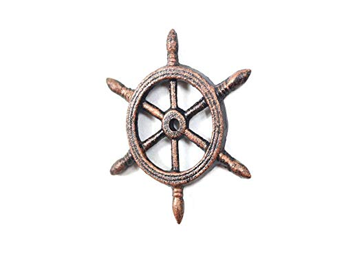 Wheel Paperweight - Hampton Nautical Rustic Copper Cast Iron Ship Wheel Decorative Paperweight 4