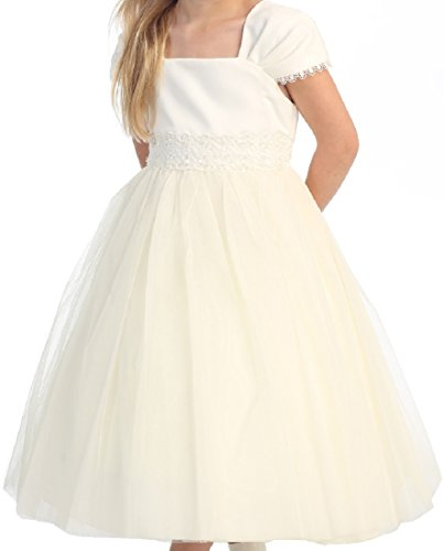 Big Girls' First Communion Pleated Cap Sleeve Flowers Girls Dresses Ivory Size 10 -