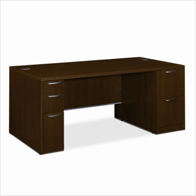 HON Double Pedestal Desk with Laminated Panel, 72 by 36 by 29-1/2-Inch, Shaker Cherry Attune Left Pedestal Desk