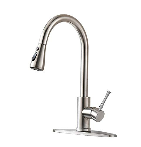 HOMY Kitchen Faucets with Pull Down Sprayer, SUS304 Stainless Steel Brushed Nickel, Hot & Cold Water Kitchen Sink Faucet with Two-function Nozzle, Single Handle Kitchen Faucet with Sprayer ()