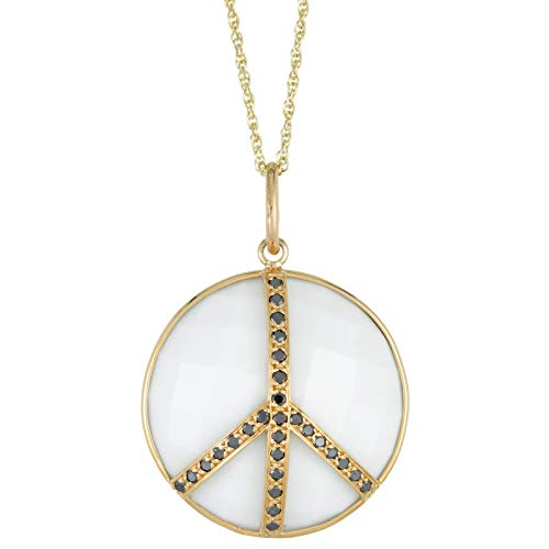 Lavari - 22MM Round Shaped White Agate and Black Agate Accent Peace Symbol 14K Yellow Gold Pendant ()