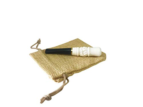- Engraved Meerschaum Cigarette Holder - Handmade - Portable Smoking Pipe - 3.2 inches Mouthpiece - Comes in a Ketene Pouch