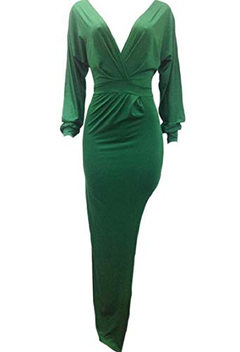 Jaycargogo Profonde Sexy V-cou Épaule Froide Moulante Fente Irrégulière Vert Robe De Clubwear Femmes