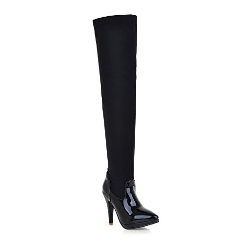 Allhqfashion Mujer Pull On Spikes Stilettos Blend Materials Botas De Punta Cerrada Con Punta Estrecha Black