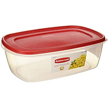 Rubbermaid 6640210 711717439723 Plastic Easy Find Food Storage Container, BPA-Free, 40 Cup / 2.5 Gallon, Pack of 2, 2, Clear With Red Lid