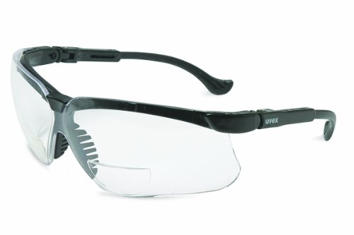 Uvex S3761 Genesis Reading Magnifiers Safety Eyewear +1-1/2, Black Frame, Clear Ultra-Dura Hardcoat - On Face Test Glasses My