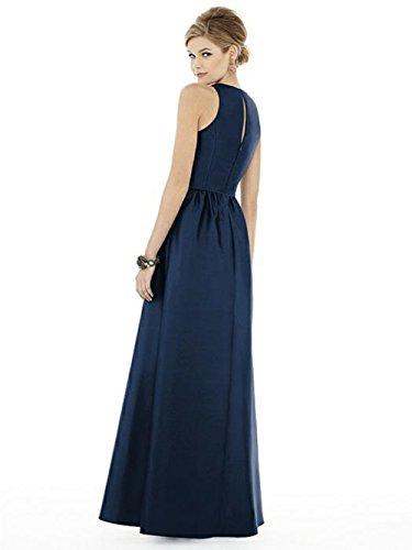 Brautjungfer Elegant Langes Festliche Faltenrock Kleid Damen Navy Satin Kleider Abendkleid Hochzeit WP4q8c
