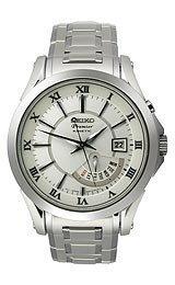 Seiko Premier Men's Stainless Steel Case Stainless Steel Bracelet Kinetic Watch (Stainless Steel Premier Dress Watch)