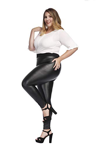 MCEDAR Women's Faux Leather Leggings Plus Size Girls High Waisted Sexy Skinny Pants (XXXL, Black) -