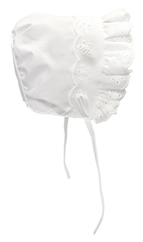 N'ice Caps Baby Girl Closed Back Bonnet with Piping (6 months), White (Baby Bonnet)