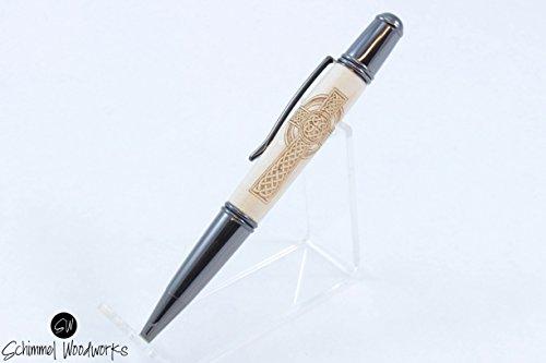 Handmade Schimmel Pen, Celtic Cross in maple wood pen, gun metal twist pen. Irish cross wood pen! Comes in gift box! Makes a great gift!