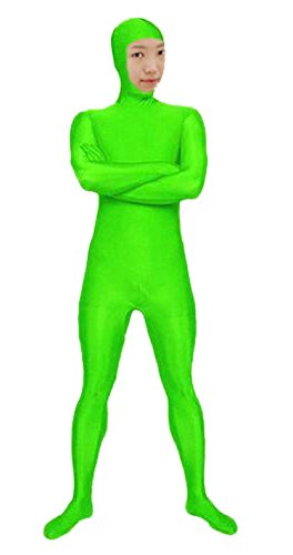 Green Spandex Bodysuit (VSVO Spandex Open Face Full Bodysuit Zentai Suit for Adults and children (Small, Fluorescence Green))