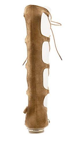 Sandali Women up Tsmlg004779 Aalardom Toe Mini Brown Heel Open Lace AqqacfBW