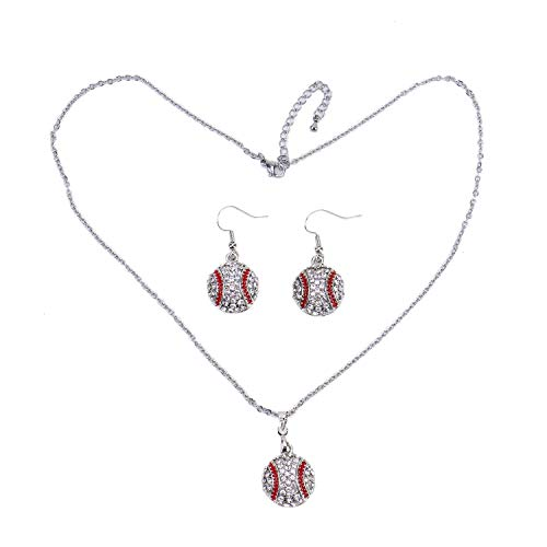 - Monrocco Fashionable Baseball Necklace and Earrings Set, Ball Sport Alloy Crystal Jewelry for Baseball Fans Player Gifts