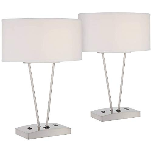 Leon Modern Table Lamps Set of 2 with Hotel Style USB and AC Power Outlet in Base Silver White Oval Shade Living Room Family – Possini Euro Design
