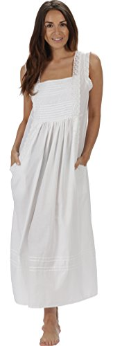 Bodice Lace Nightgown - The 1 for U 100% Cotton Long Nightgown with Pockets XS-3X Rebecca (Large, White)