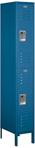 Salsbury Industries 62168BL-U Double Tier 12-Inch Wide 6-Feet High 18-Inch Deep Unassembled Standard Metal Locker, Blue by Salsbury Industries