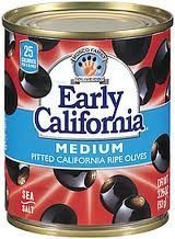 Pitted Black Olives Medium (Early California Medium Whole, Pitted, Black Olives, 6 Oz., (Pack of 6) by Early California)