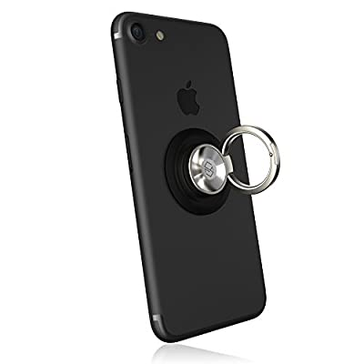 Sinjimoru Phone Ring Holder Attachable to Magnet, Kickstand Attachable to Ringo's Belly Button, Magnetic Car Mount or Phone Mount for iPhone and Android Smartphones. Ringo, Black: Electronics