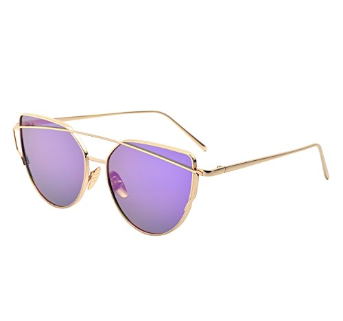 YANQIUYU Stylish Metal Frame Cat Eye Sunglasses for Women Mirrored Flat Lens (Purple Lens/Gold Frame, - And Sunglasses Purple Gold