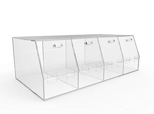 "FixtureDisplays 24x8x12"" Acrylic Bin Plaxiglass Organizer 12 Compartments Display Bin for Candy, Cereal, Chocolate Bean 100827-NEW"