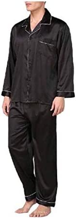 Kankanluck Men's Charmeuse Lounger Cardigan Long-Sleeve Comfy Relaxed-Fit Pajama