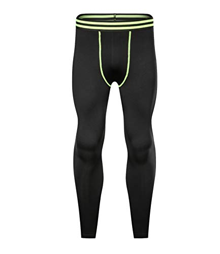 Outto Men's Base Layer Pants Thermal Underwear Midweight Fleece Lined Leggings(Medium,120K Fluorescent Green)