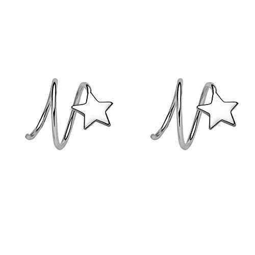 (Ear Crawler Earring Star Climbers Ear Cuff Pin Vine Wrap Studs CZ Crystal Rhinestone Cute Clip On Jewelry Clip Silver Plated )
