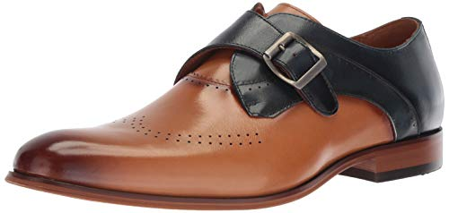STACY ADAMS Men's Saxton Perf Wingtip Monk Strap Loafer, tan/Navy 11 M ()