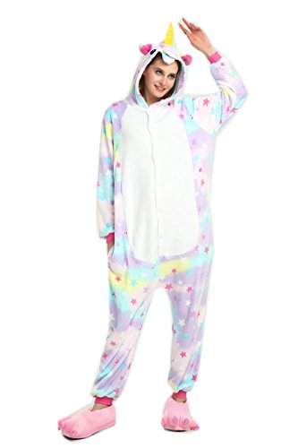 Keep It Clean Adult Costumes (ZEALOVE Unisex Adult Kigurumi Unicorn Pajamas Cosplay Cute Sleepwear (M fit for Height 64.17-67.7