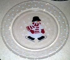 Crate U0026 Barrel Glass Snowman Luncheon, Dessert Plate