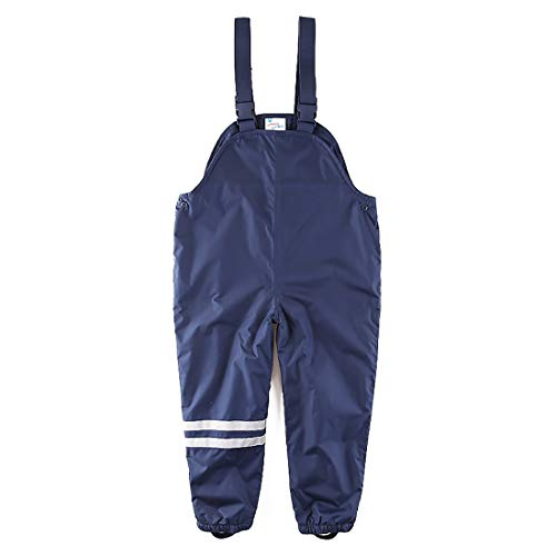 umkaumka Kids Girls and Boys Rain Pants Fleece Lined Bib Overalls 2T Dark Blue ()