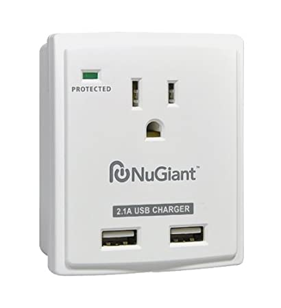 Amazon.com: Inland NSS14 Wall Tap Style 1 Outlet Surge Protected 2-USB Charger Ports with 2.1A for iPad: Home Audio & Theater