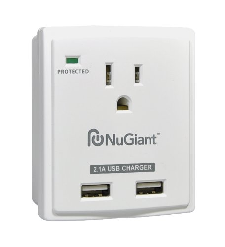 Inland NSS14 Wall Tap Style 1 Outlet Surge Protected 2-USB Charger Ports with 2.1A for iPad by Inland