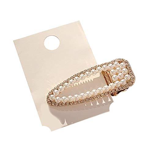 Artificial pearl drill hair clip exquisite bangs a word clip handmade jewelry Hair clip headwear -