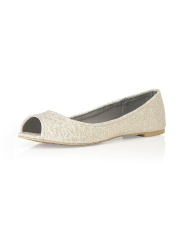 Women's PARK AVENUE Lace Peep Toe Ballet Flats by Dessy - Ivory Gold - Size (Ballet Peep Toe Flats)