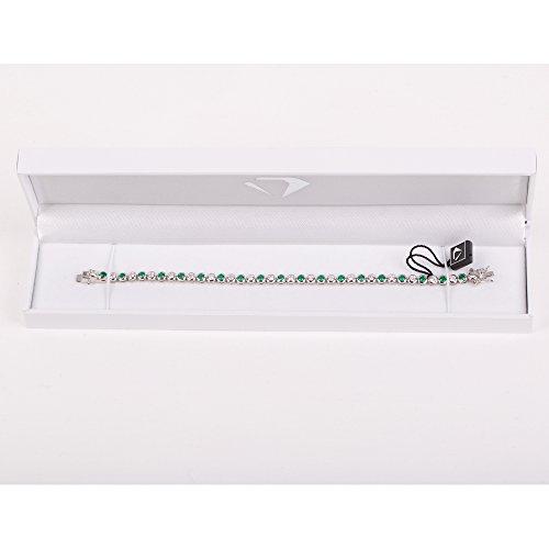 Infinity Diamant émeraude et argent bracelet de tennis (6.5in or blanc)