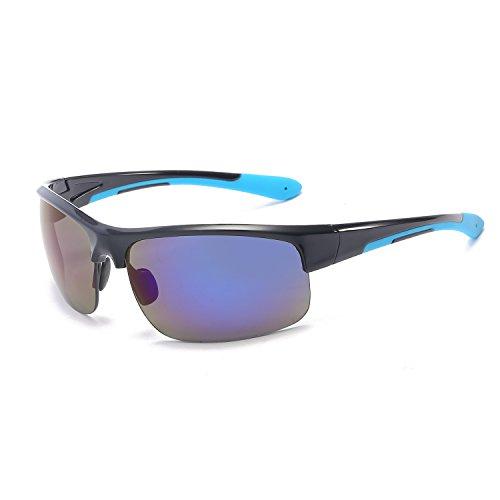 Half Frame Outdoor Sunglasses,Men And Women Windproof Polarized Aviator Fashion Sports Sunglasses (Bright Black And Blue Mercury C5)