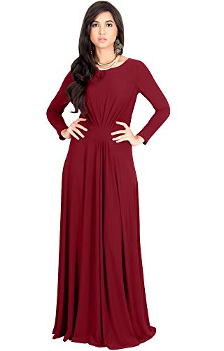 Gown Sleeve Jersey (KOH KOH Womens Long Full Sleeve Sleeves Flowy Empire Waist Fall Winter Modest Formal Floor Length Abaya Muslim Gown Gowns Maxi Dress Dresses, Crimson Dark Red M 8-10)