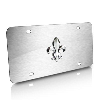 Fleur De Lis Tag (Fleur-De-Lis 3D Emblem Brushed Steel Auto License Plate)