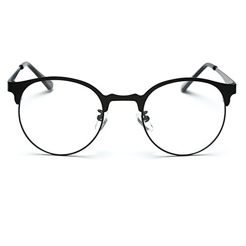 TIJN New Round Metal Non-prescription Glasses Frame with Clear Lens