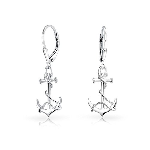 Tropical Nautical Leverback Boat Anchor Rope Drop Dangle Earrings For Women 925 Sterling Silver