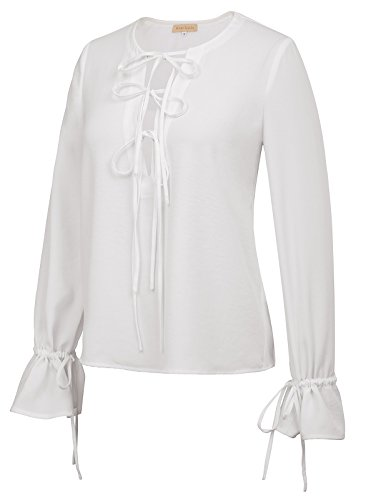 Kate Kasin 50's Retro Ruffles Top Long Sleeve Bow-Tie Blouse Shirts (XL,Ivory)