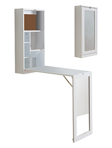 Kings Brand White Finish Wood Fold-Out Convertible Wall Mount Desk With Mirror by Kings Brand Furniture
