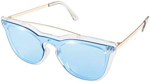 Silver Transparent Frame (Transparent Silver frame Double bridge Transparent clear with Blue lens)