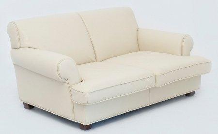 Sofa Friedrich mit 2 Sitzplätzen und Bezug aus cremeweißem Leder