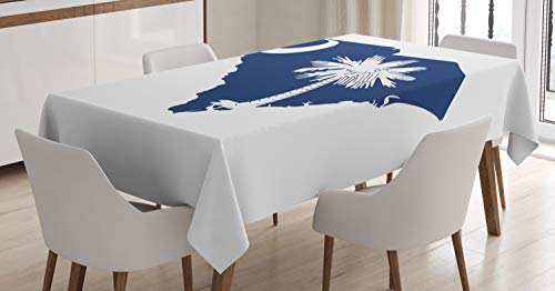 Lunarable South Carolina Tablecloth, Palmetto State Flag and Map Sabal Palm Tree and Crescent, Dining Room Kitchen Rectangular Table Cover, 60