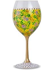 Zees Inc Pocket Bottles Handpainted Wine Glasses, Yellow