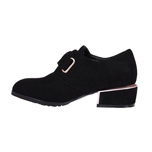 ENMAYER Mujer Nubuck Material Tacones Bajo Hebilla Punteada Casual Zapatos de Moda Negro