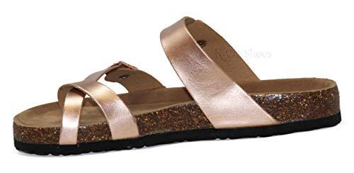 SandalslComfort Strappy Toe SlidelFlipFlop Open Rosegold Summer MVE b30 Shoes Flat Cork Women's wZYWx